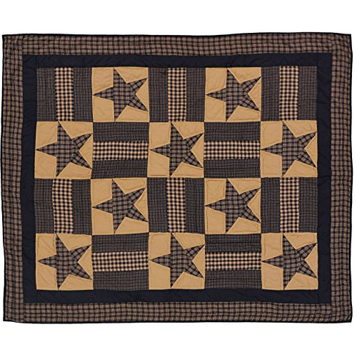 Quilt Wall Hanging - VHC Brands Classic Country Primitive Pillows & Throws - Teton Star Tan Quilted Throw