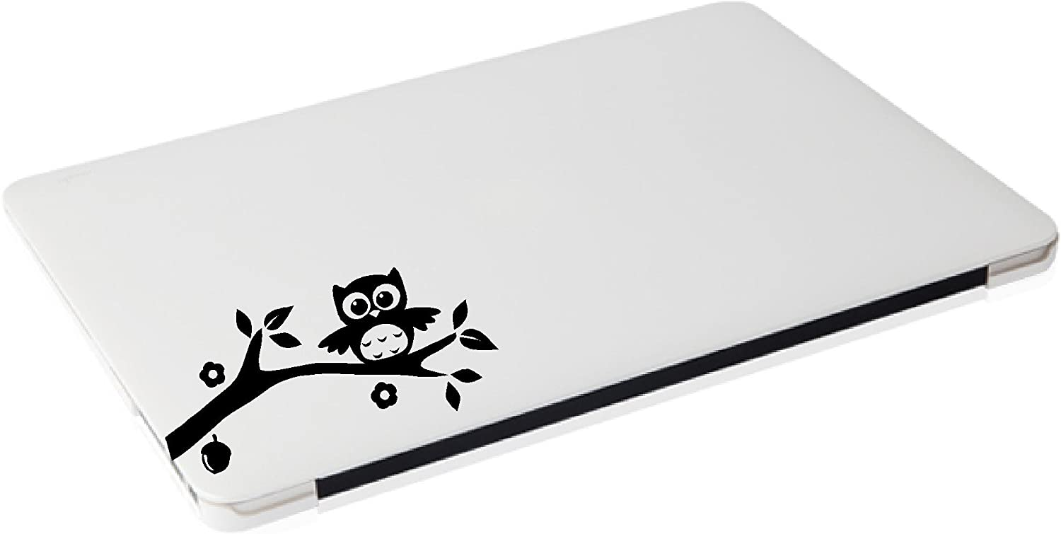 Laptop - Owl on Branch with Leaves, Flower, and nut Cute Decal - Matte Black Skins Stickers