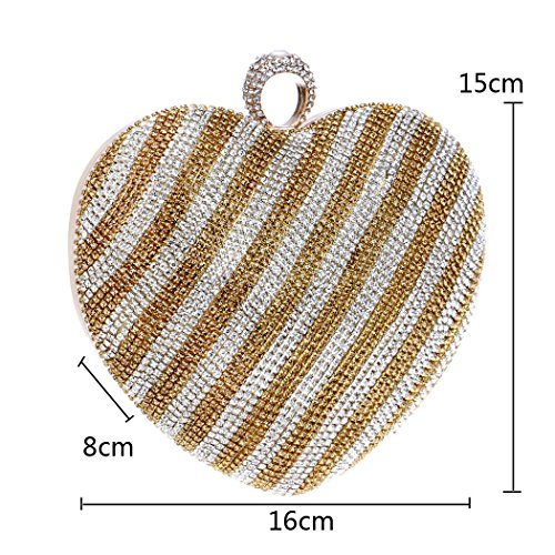 Bag Champagne Diamond Shaped Banquet Woman Clutch Parties Nightclubs Can Heart Events Girl Be Used Clutch Fashion Onesize Bride Dress Annual Ladies' Evening For Gradient S5Ywtq
