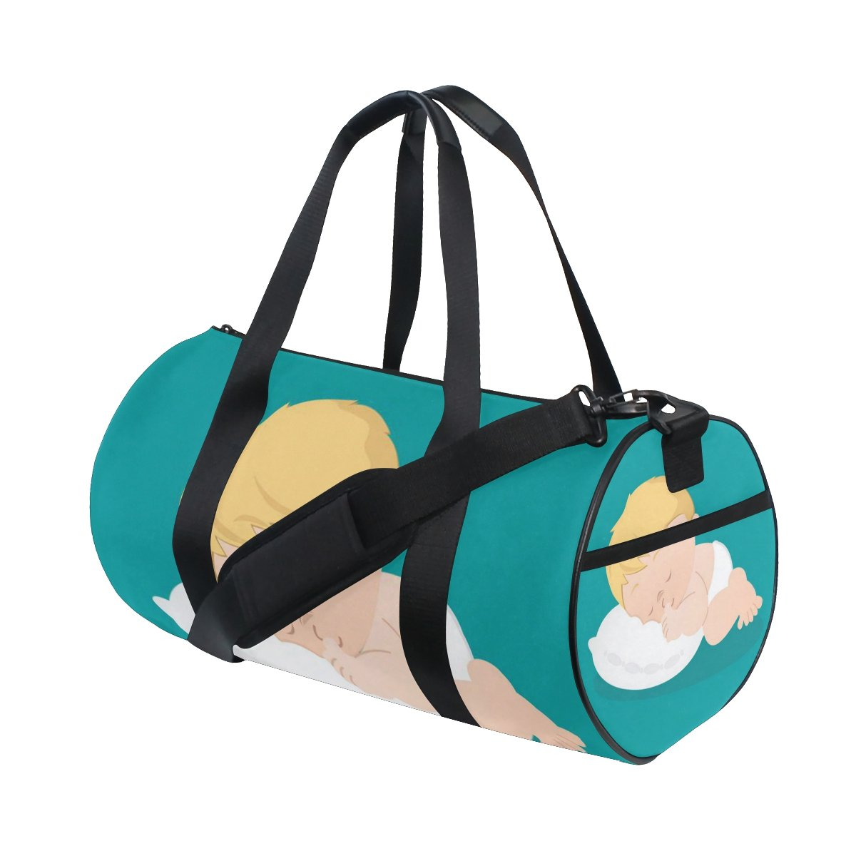 JIUMEI Anime Cartoon Cute Sleeping Baby Canvas Sports Bag Travel Duffel Yoga Gym Bags