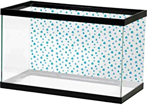 SLLART Aquarium 3D Backdrops Blue and White,Watercolor Drip Drops Pattern in Various Sizes Terrain Humidity Zone Sign,Blue White Underwater World Wallpaper Decoration
