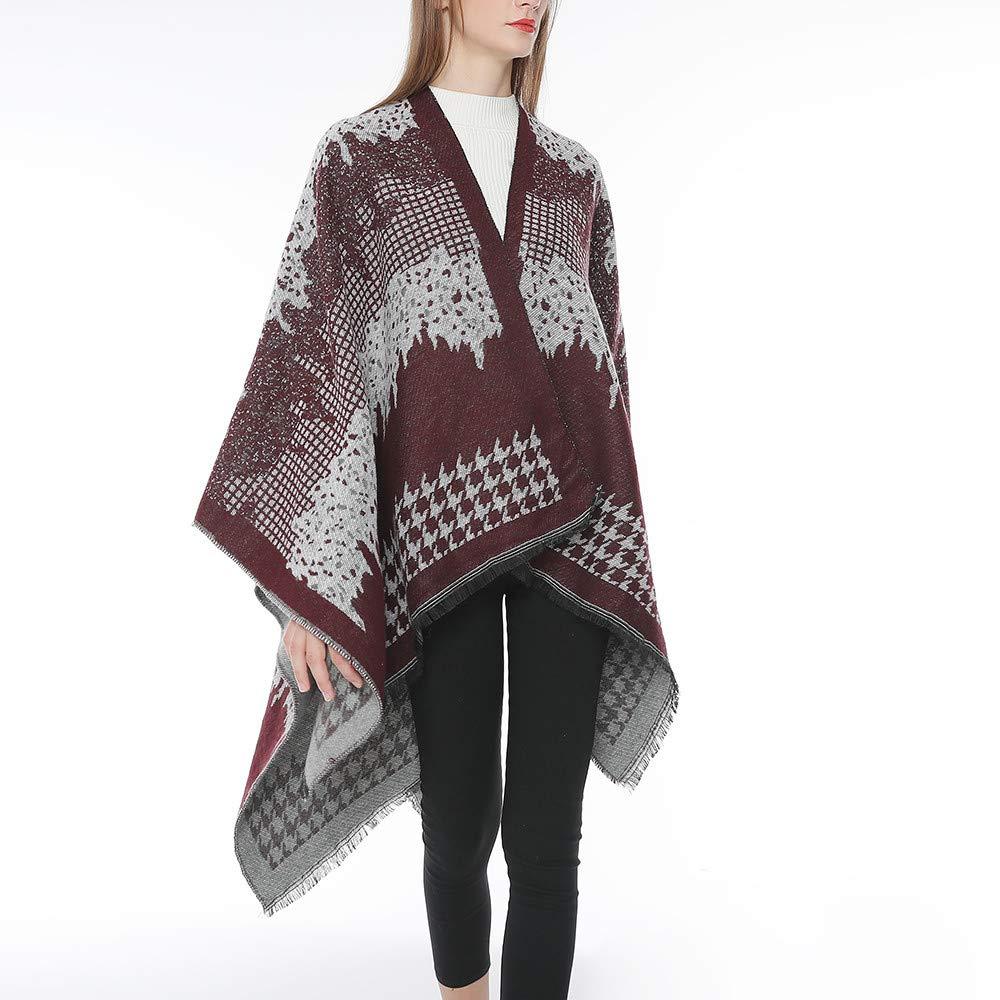 BHYDRY Mujeres Bohemia borlas de Punto de Cachemira Ponchos Shawl Cardigans suéter Capa: Amazon.es: Ropa y accesorios