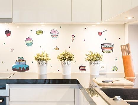 dekodino Wandtattoo Küche Wandsticker Set Cupcakes und ...