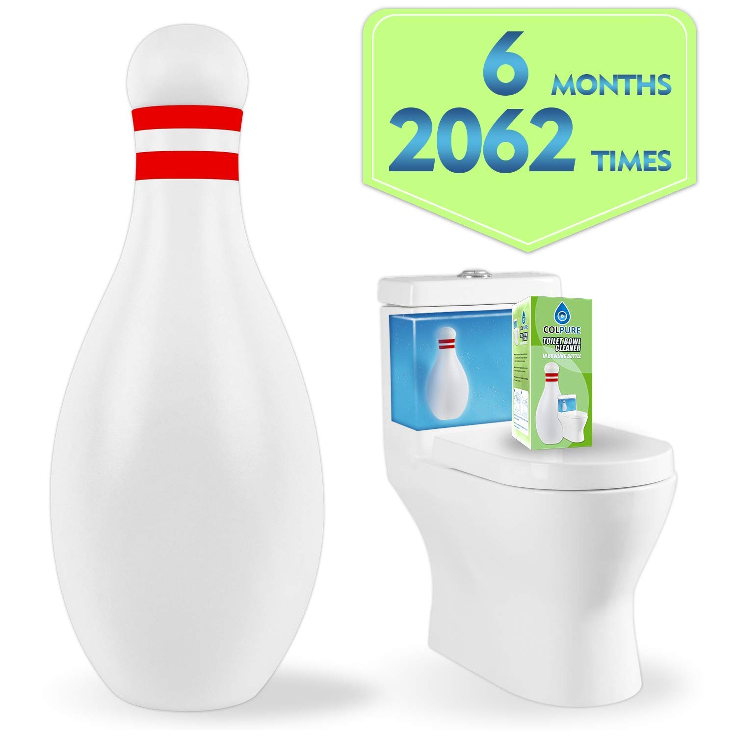 Colpure Toilet Bowl Cleaner, Automatic Bathroom and Tank Cleaning System Toilet Cleaner, Toilet Bowl Cleaner Tablets of Lasts 6 Months or has About 2,000 Flushes -1 Pack