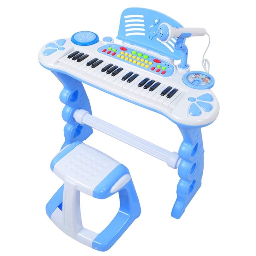LIUFS-Piano Children's Electronic Piano with Microphone Male and Female Birthday Gift Piano Music Toy Multi-Function 3-6 Years Old Beginner with Microphone (Color : Blue)