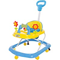 GoodLuck Baybee Round Baby Walker Cum Rocker for Kids | Music & Light Function with Parent Control Push Bar and Stopper,Fun Toys & Activities for Babies/Childs (6 Months to 2 Years) (Yellow)