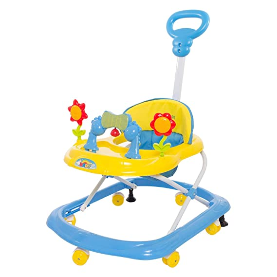 GoodLuck Baybee Round Baby Walker for Kids | Music & Light Function with Parent Control Push Bar and Stopper | Toys & Activities for Babies/Childs (6 Months to 2 Years) (Yellow)