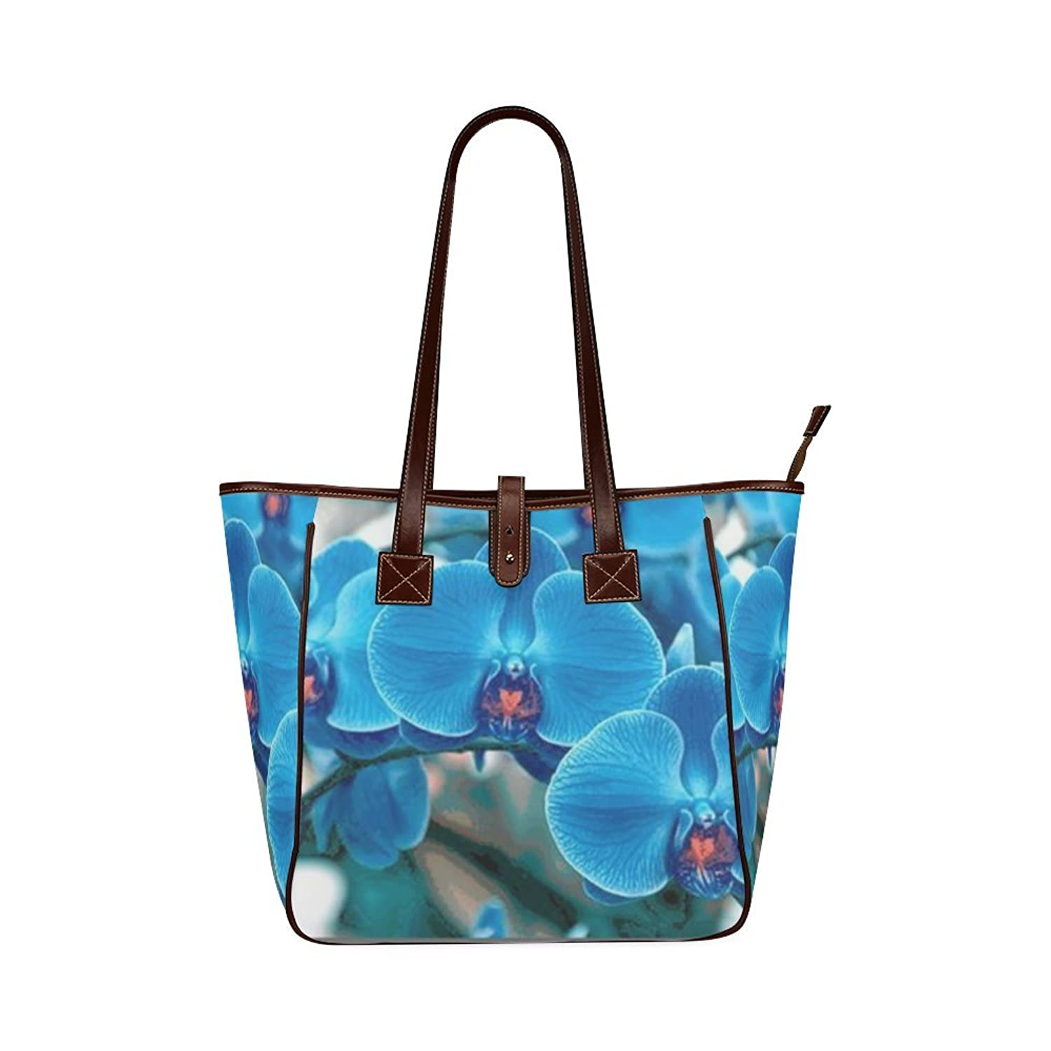 Custom Beautiful Flowers Orchid Classic Leather Tote Bag/Handbag/Shoulder Bag for Women Girls By Boom~Shakalaka