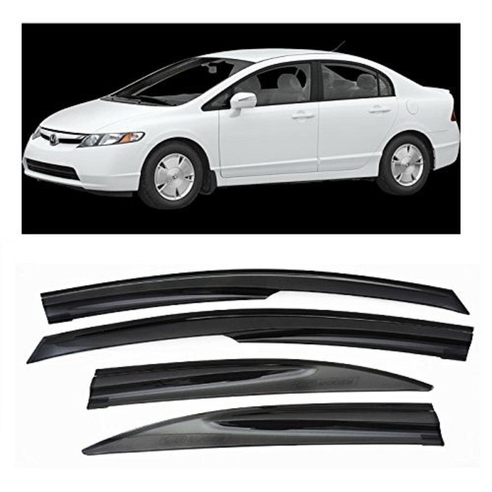 Mugen II Style Window Rain Guard Visors 4drs Sedan Honda JDM SI For 06-11 Civic