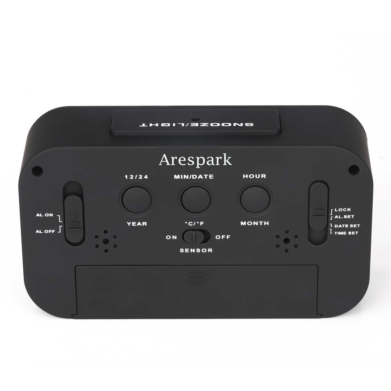 Alarm Clock Arespark Large HD Display Silent Digital Morning Bedroom Alarm Clock- Black. Update Version