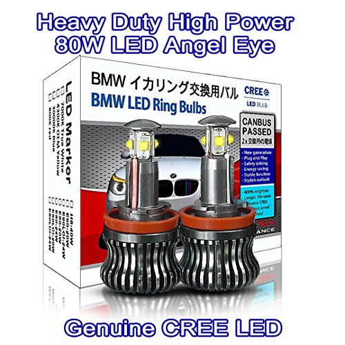 Heavy Duty High Power 80W CREE LED H8 Light Bulb BMW Angel Eyes DRL Marker White 7000K E81 E82 E87 E88 E90 M3 E91 E92 E93 E60 E61 M5 X1 X5 X6 Z4 (pack of 2)