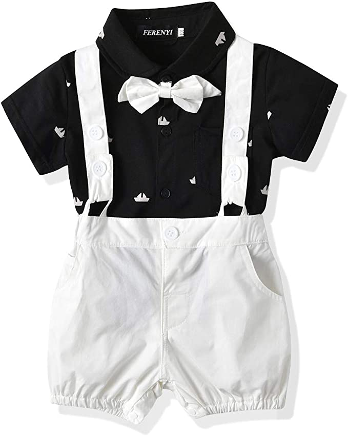Baby boys Smart Formal Romper Jumpsuit With Bowtie