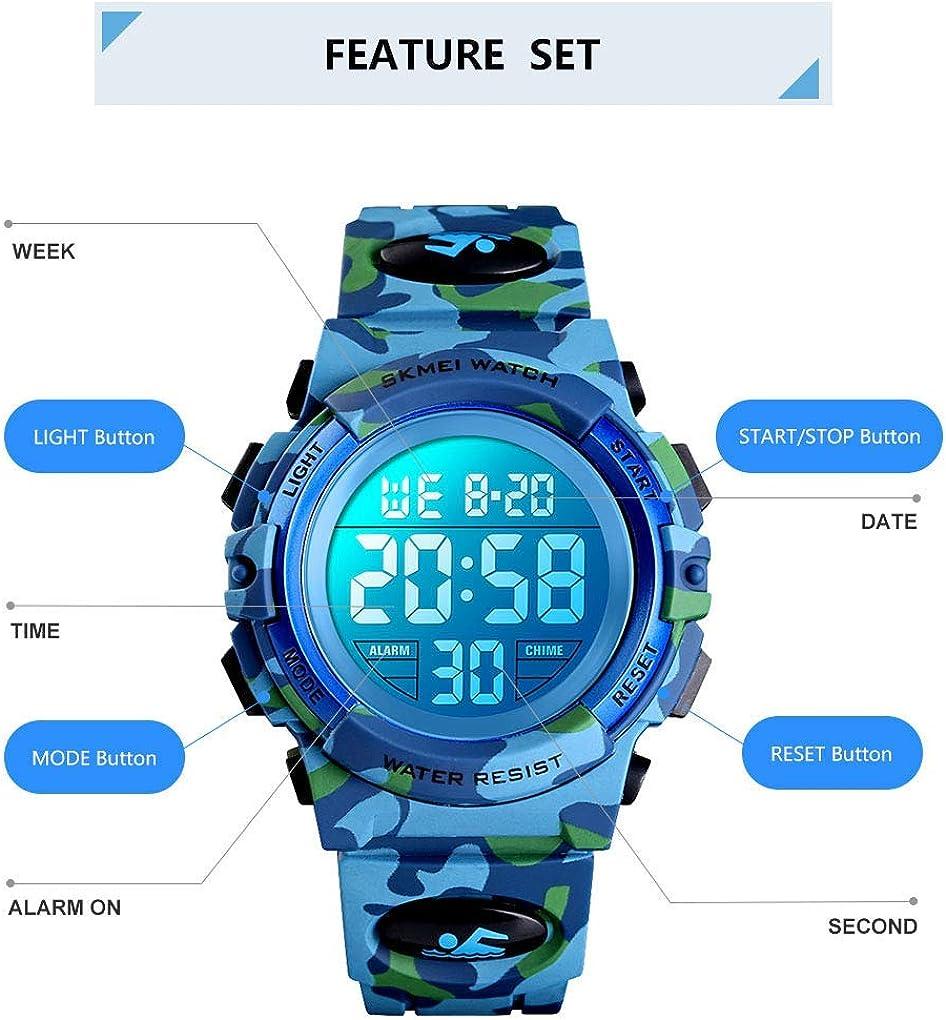Boys Girls Waterproof Sports Outdoor Watches Children Casual Electronic Analog Quartz Wrist Watches with Alarm Stopwatch Kids Digital Sport Watch