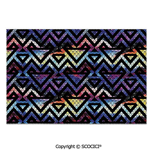 SCOCICI Place Mats Set of 6 Personalized Printed Non-Slip Table Mats Galaxy Themed Background with Geometrical Shapes Triangles and Lines Lace Pattern Decorative for Dining Room Kitchen Table Decor All Lace Triangle Slip