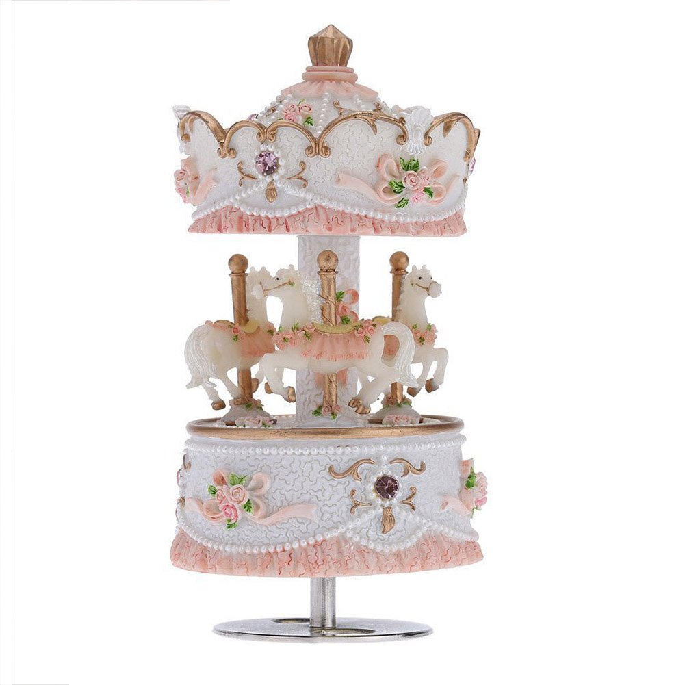 AVESON Luxury Carousel Music Box, Clockwork Mechanism 3-horse Gift For Christmas/Birthday/Valentine's day, Melody Castle in the Sky, Blue