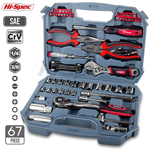 - Hi-Spec 67pc Auto Mechanics Tool Kit including Professional 3/8