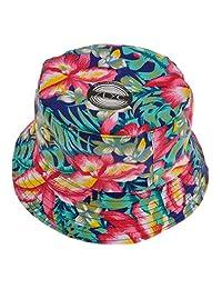 ZLYC Women Funky Floral Plant Rainforest Print Canvas Bucket Hat Fishmen Cap, Red