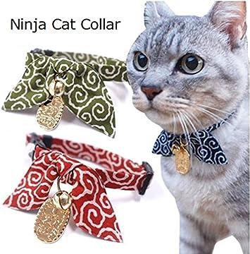 Amazon.com: Ninja Lucky Cat Collar (Rojo): Mascotas