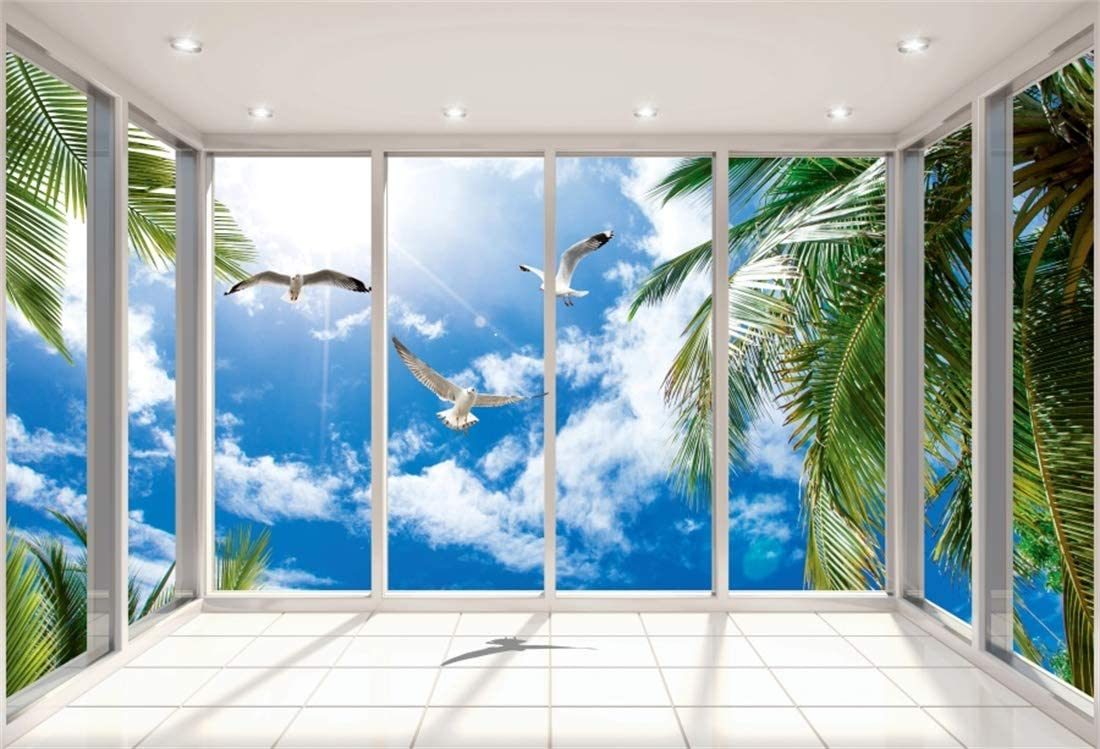 YEELE Ocean View Villa Backdrop 12x8ft Beach Villa Lobby and Living Area Sea View Photography Background Modern House Interior Design Church Decoration Kids Adults Portrait Photo Studio Props