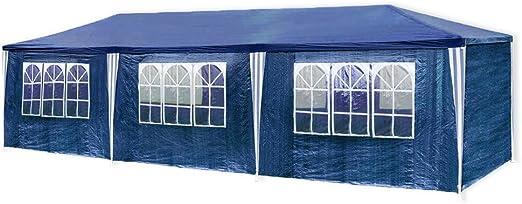 HG Carpa Pabellón 3 x 9 m tienda de campaña de cúpula polietileno Acero tubos con 6 laterales y 2 entradas resistente al agua Incluye 6 paredes desmontables color azul: Amazon.es: Jardín