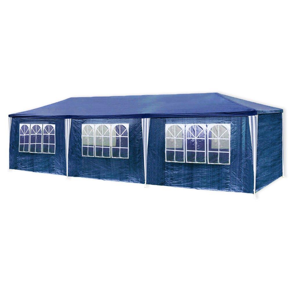 HG® 3x9m Festzelt blau Pavillion Strandzelt Polyethylen Stahlrohre mit 6 Seitenteilen und 2 Eingängen Wasserdicht inkl. 6 abnehmbaren Seiten