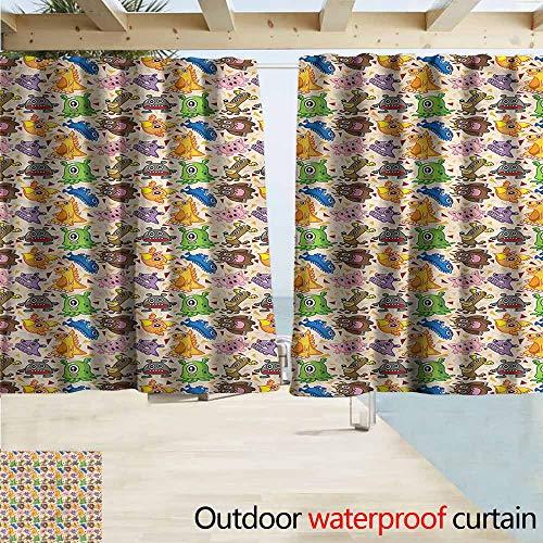 MaryMunger Outdoor Patio Curtains Alien Dragon Phoenix Doodles Rod Pocket Curtain Panels W63x45L Inches (Outdoor Curtains Patio Phoenix)