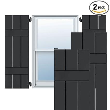 Tudor Brown Ekena Millwork EB0110500X027250MTB Exterior Mahogany Three Board Two Batten Board-n-Batten Shutters 10 1//2W x 27 1//4H Per Pair