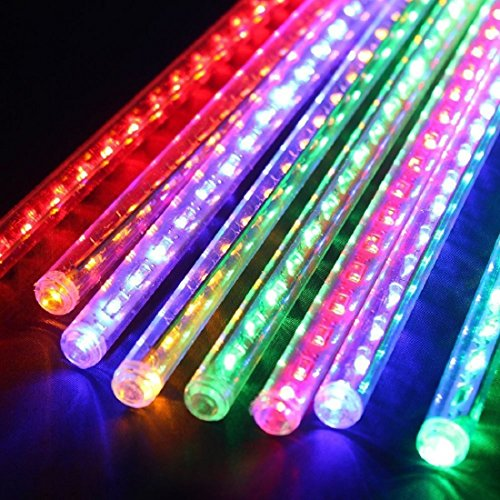 LDUSA HOME LED Meteor Shower Rain Lights,30cm 8Tubes 144leds,Outdoor String Lights,Waterproof Garden Lights Snow Falling Raindrop Cascading Light for Holiday Wedding Xmas Tree Decor,Colorful]()