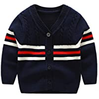 BAVST Baby Button-up Cardigan V-Neck Knit Sweater Boys Toddler Casual Outerwear
