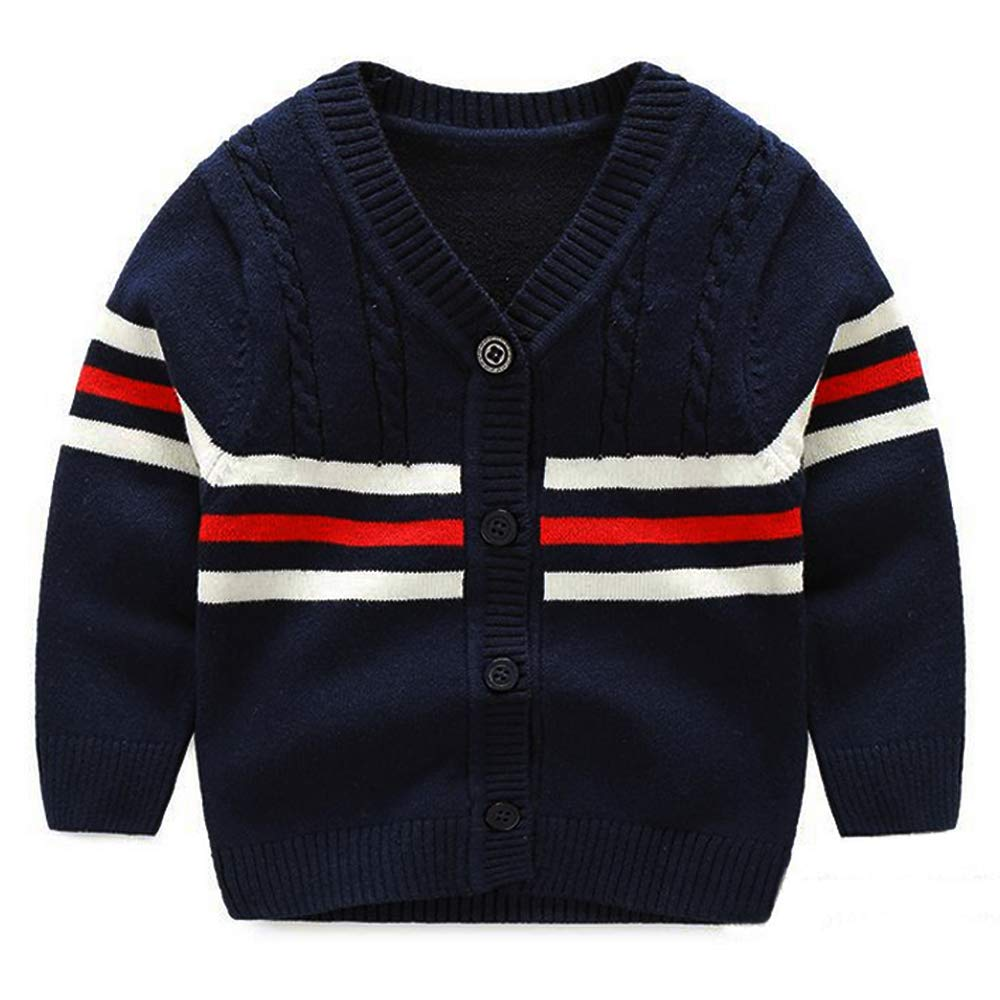 BAVST Baby Button-up Cardigan V-Neck Knit Sweater Boys Toddler Casual Outerwear (B-Navy, S:3M) by BAVST