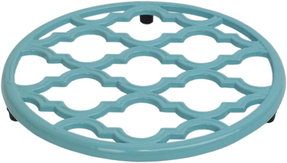 Home Basics Lattice Collection Cast Iron Trivet for Serving Hot Dish, Pot, Pans & Teapot on Kitchen Countertop or Dinning, Table-Heat Resistant (6, Turquoise)