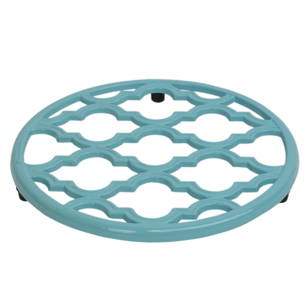 Home Basics Lattice Collection Cast Iron Trivet for Serving Hot Dish, Pot, Pans & Teapot on Kitchen Countertop or Dinning, Table-Heat Resistant (1, Turquoise)