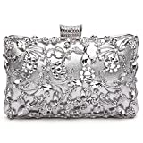 GESU Large Womens Crystal Evening Clutch Bag Wedding Purse Bridal Prom Handbag Party Bag.(Silver)