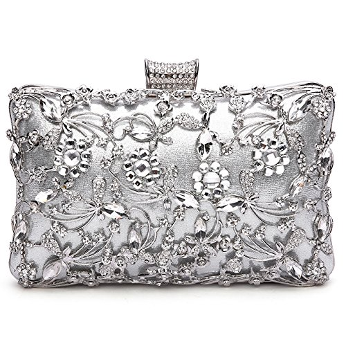 Clutch Women's Handbag Lady Party Crystal Evening Bags Silver - 2