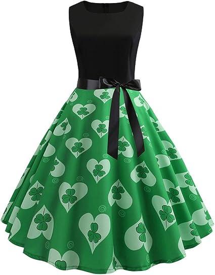 Womens St Patrick/'s Day Long Sleeve Fancy Dress Party Irish Clover Swing Skater