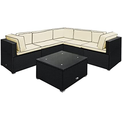 Deuba Poly Rattan Lounge Set Xxl 15cm Kissen 7cm Auflagen