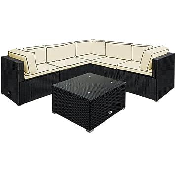 Deuba - Salon de Jardin • canapé et Table - en polyrotin Noir avec ...
