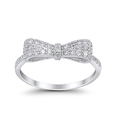 Amazon.com: Lazo de cinta de plata de ley 925 anillo lindo ...
