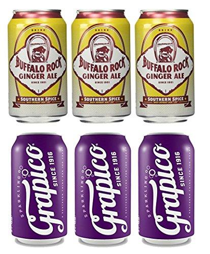 Buffalo Rock Ginger Ale & Grapico Sparkling Grape Soda 6pk bundle - 12 oz cans - 3 of each - Diet Rock