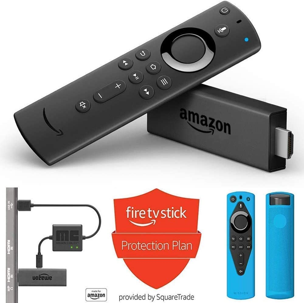 USB Power Cable Alexa Voice Remote Cover Protection Plan Fire TV Stick Blue