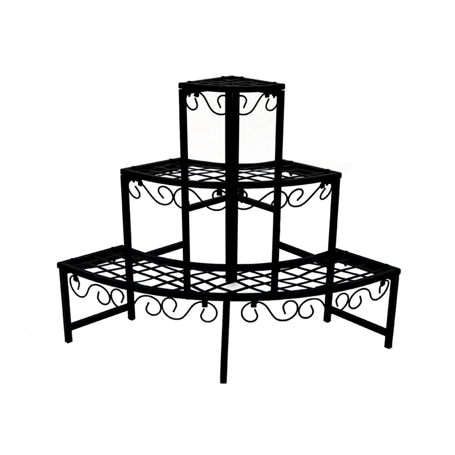 Oypla 3 Tier Corner Metal Garden Flower Staging Plant Stand Display Shelf 3884A2P