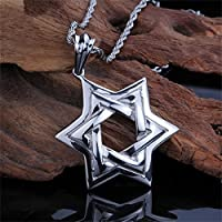 Coolsome Mens Womens Titanium Star of David Pendant Stainless Steel Necklace Lucky Star Pendant, 24""