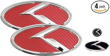 Fits: KIA 2018+ Stinger Steering Wheel 3D K Logo Emblem Red /& Chrome Edition Set 4pc Front Mini Sticker Rear