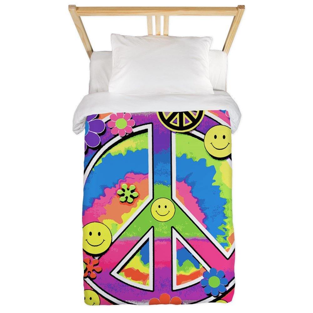 Twin Duvet Cover Neon Smiley Face Floral Peace Symbol