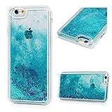 iPhone 6S Case,iPhone 6 Case,Badalink Dynamic Flowing Liquid Glitter Stars Fantasy Shiny Case Cover Transparent Plastic 3D Quicksand Liquid Case for iPhone 6S /6(Blue)
