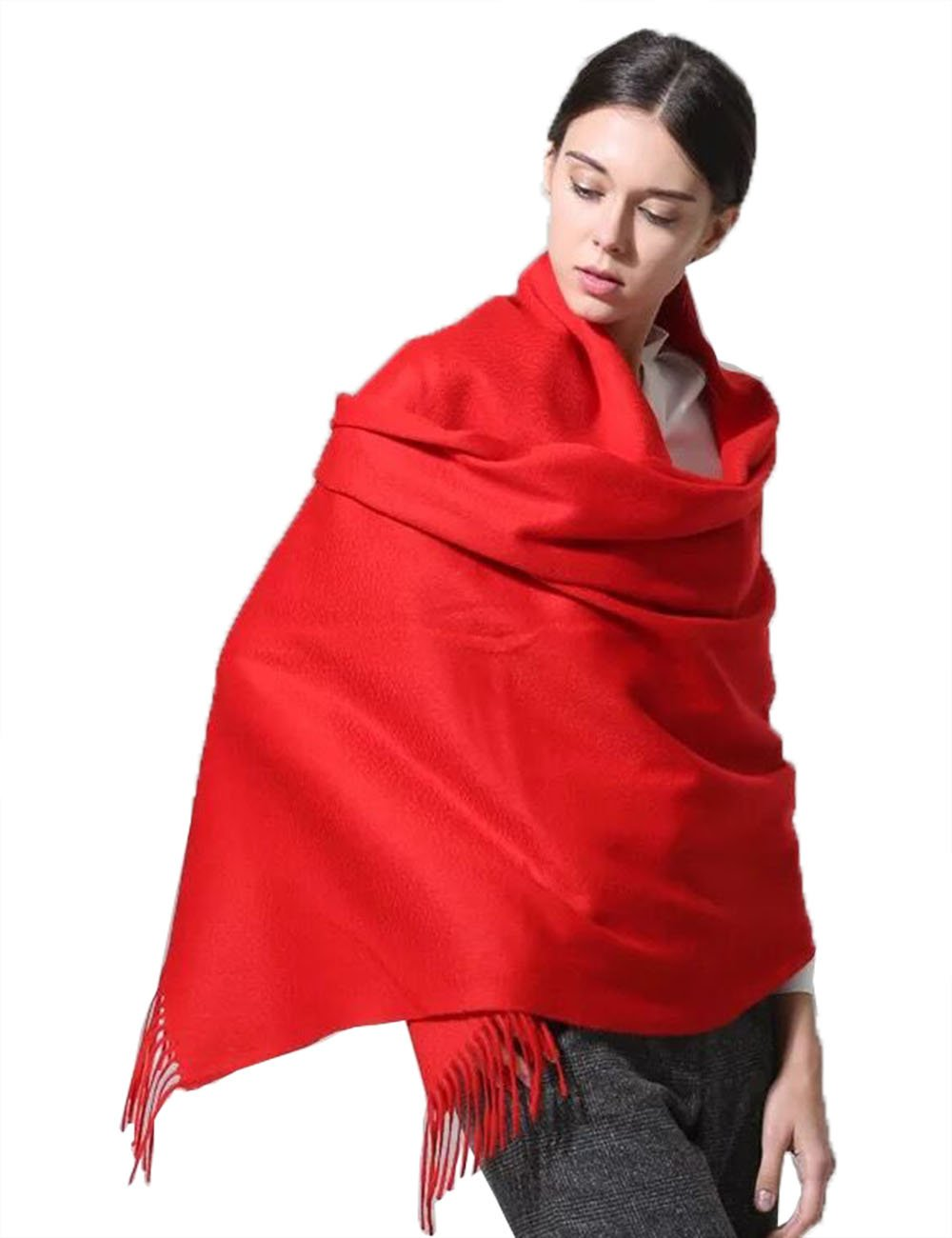 Super Soft Cashmere Feel Winter Solid Colors Scarf … (Red)