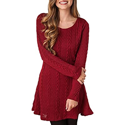 Sumtory Women Cable Knit Dress Slim Fit Long Sleeve Sweater Dresses(8 Colors) at Women's Clothing store