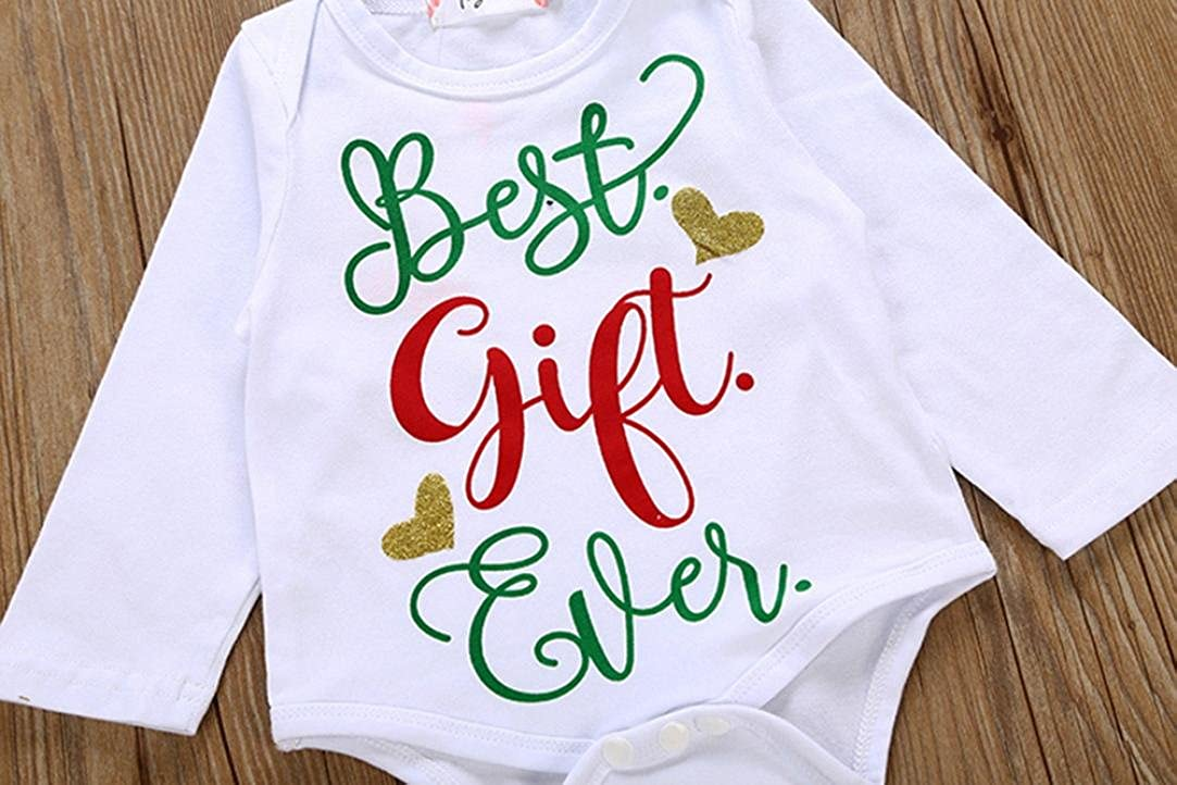 0f134e33c4d0 Amazon.com  Baby Girls Letter Romper Tops+Leg Warmer Christmas Outfits Set  Vibola  Clothing