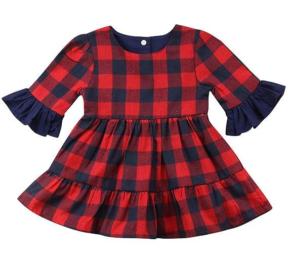 e788406c8a58 Kids Toddler Baby Girls Christmas Ruffle Flare Long Sleeve Red and Black Buffalo  Plaid Dress Clothing