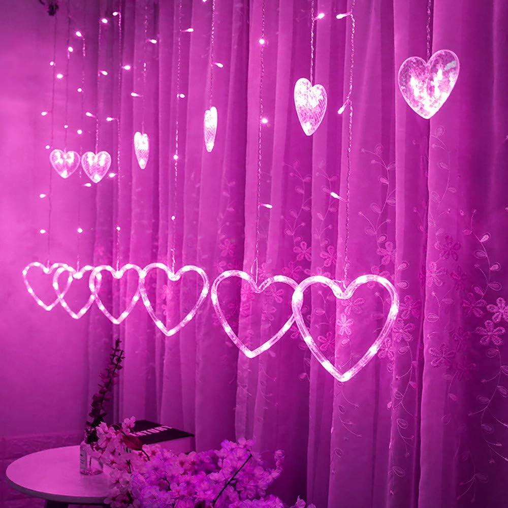 TAOtTAO - Cortina de Luces LED para Colgar en Forma de corazón, Ideal para decoración del hogar